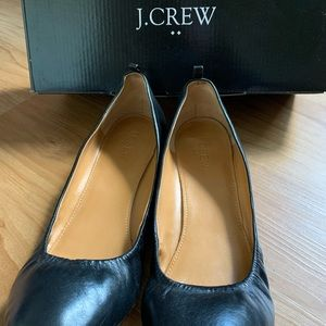 J crew ladies ballerina flats black leather size 9